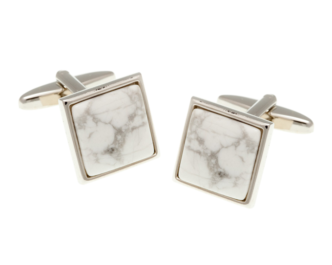 Square Howlite Marble Effect Stone Cufflinks