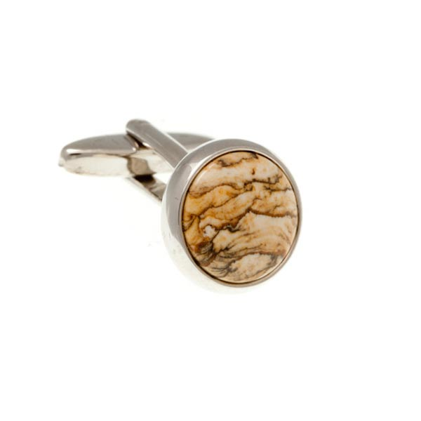 Round Cabochon Picture Jasper Red Brown Yellow Sand Marble Effect Semi Precious Stone Cufflinks by Elizabeth Parker England