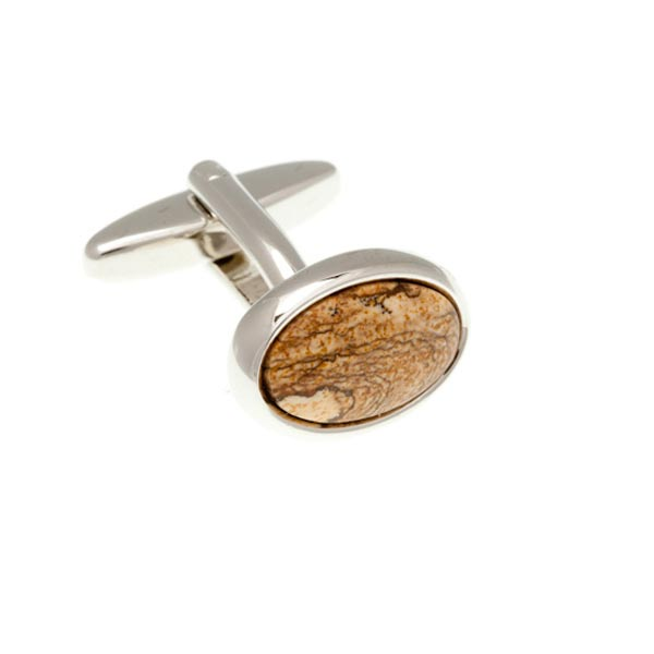 Oval Cabochon Picture Jasper Red Brown Yellow Sand Marble Effect Semi Precious Stone Cufflinks by Elizabeth Parker England