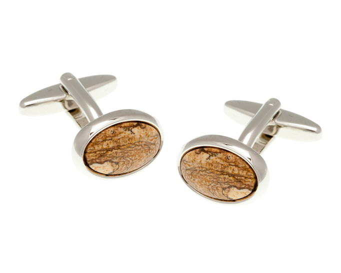 Oval Picture Jasper Stone Cufflinks
