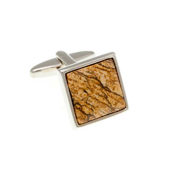 Square Cabochon Picture Jasper Red Brown Yellow Sand Marble Effect Semi Precious Stone Cufflinks by Elizabeth Parker England