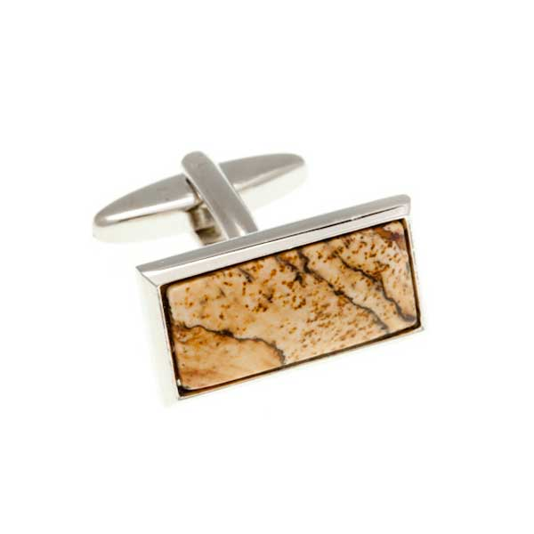 Oblong Cabochon Picture Jasper Red Brown Yellow Sand Marble Effect Semi Precious Stone Cufflinks by Elizabeth Parker England