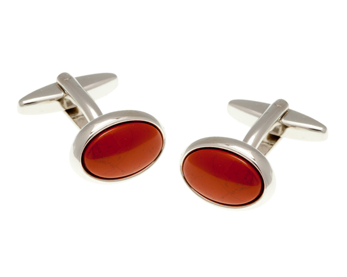 Oval Red Jasper Cufflinks