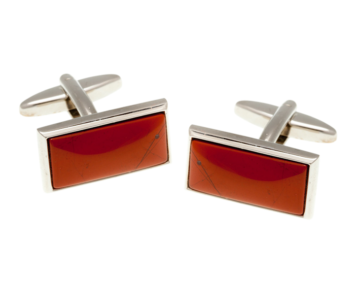 Oblong Red Jasper Cufflinks