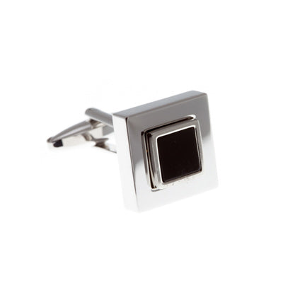Square Black Onyx Semi Precious Stone Cufflinks Framed By A Polished Metal Square AEPCL2501 - by Elizabeth Parker