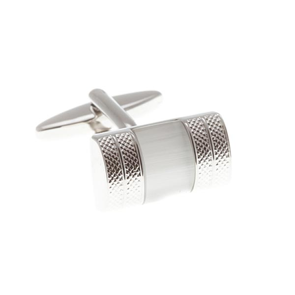 Convex Cufflinks With White Central Insert by Elizabeth Parker