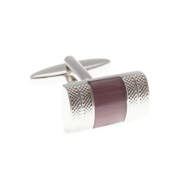 Convex D-Shaped Cufflinks With Purple Insert by Elizabeth Parker