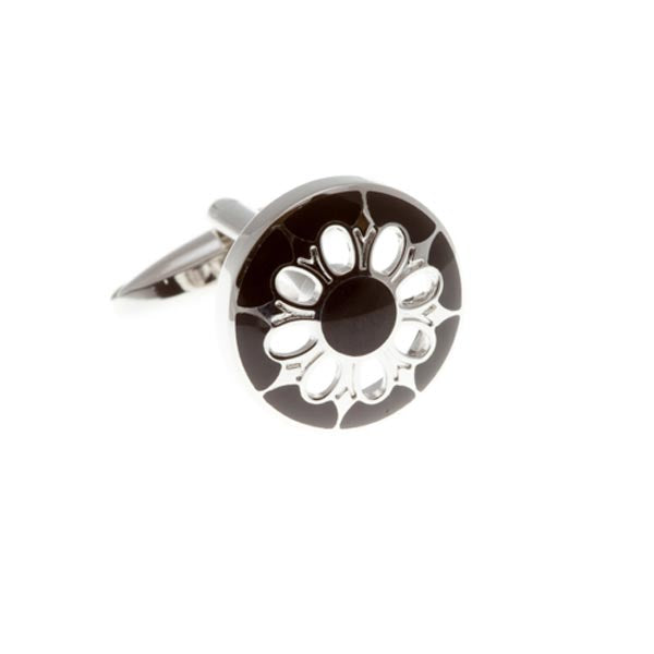 Circular Cufflinks With Black Enamel Face and Flower Shaped Cutout by Elizabeth Parker