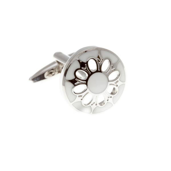 Circular Cufflinks With White Enamel Face and Flower Shaped Cutout by Elizabeth Parker
