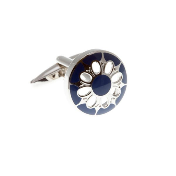 Circular Cufflinks With Dark Blue Enamel Face and Flower Shaped Cutout by Elizabeth Parker