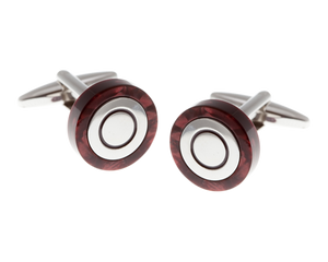 Circular Speckled Red Cufflinks
