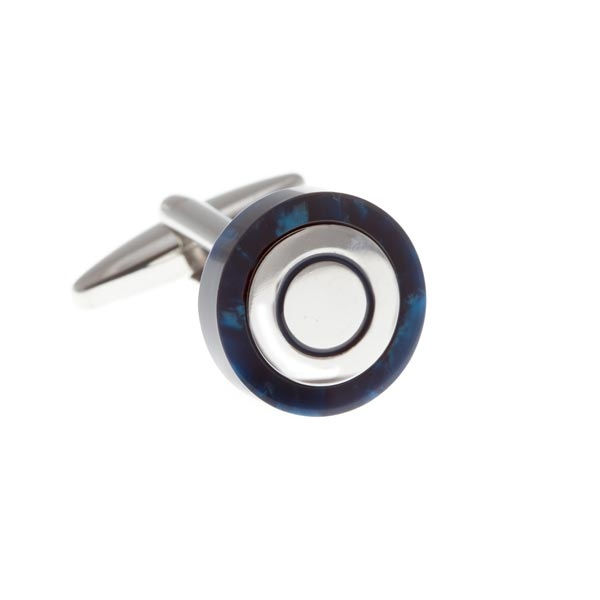 Circular Cufflinks Wrapped In Polished Blue Speckled Acrylic by Elizabeth Parker