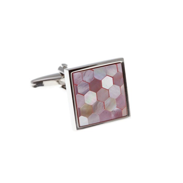 Square & Patterned Pink Mother Of Pearl Simply Metal Cufflinks by Elizabeth Parker