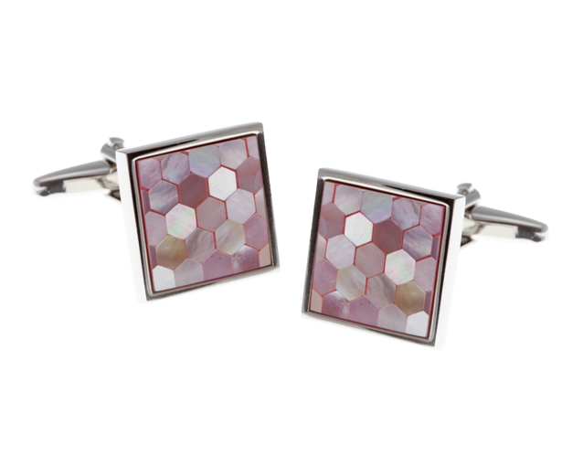 Square & Patterned Pink Mother Of Pearl Cufflinks