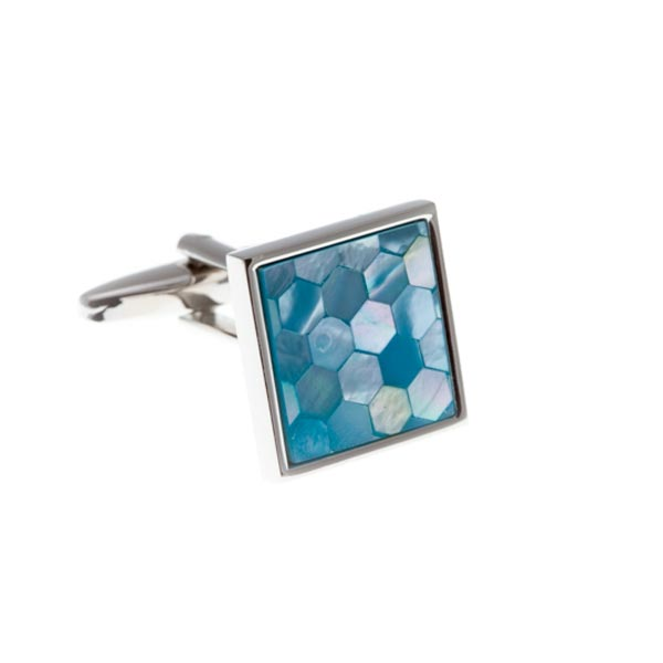Square & Patterned Blue Mother Of Pearl Simply Metal Cufflinks by Elizabeth Parker