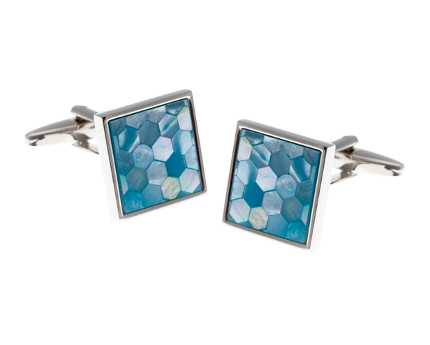 Square Patterned Blue Mother Of Pearl Cufflinks