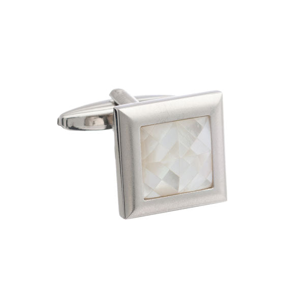 Square Brushed Metal Cufflinks with Spider's Web White Mother of Pearl Inlay by Elizabeth Parker