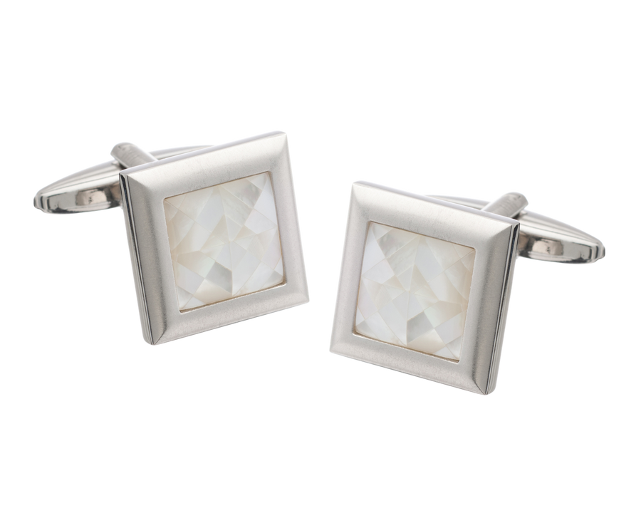 Square Spider's Web White Mother of Pearl Inlay Metal Cufflinks
