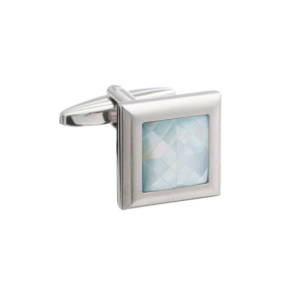 Square Brushed Metal Cufflinks with Spider's Web Blue Mother of Pearl Inlay by Elizabeth Parker