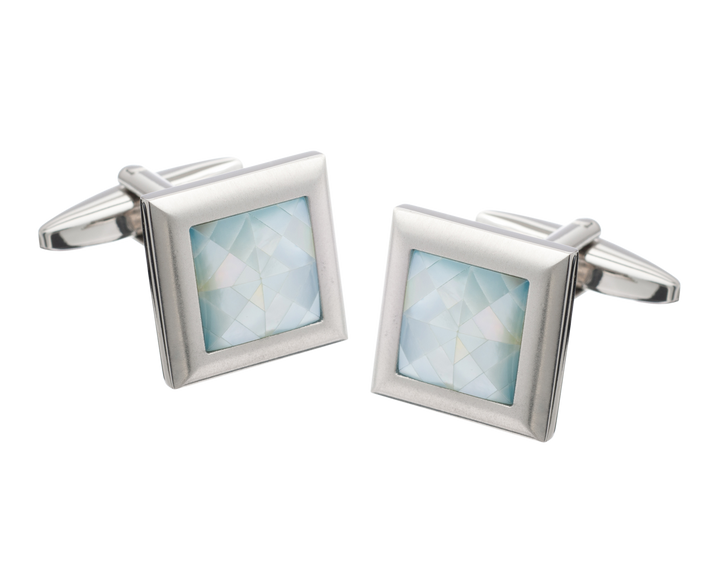Square Metal Spider's Web Blue Mother of Pearl Inlay Cufflinks