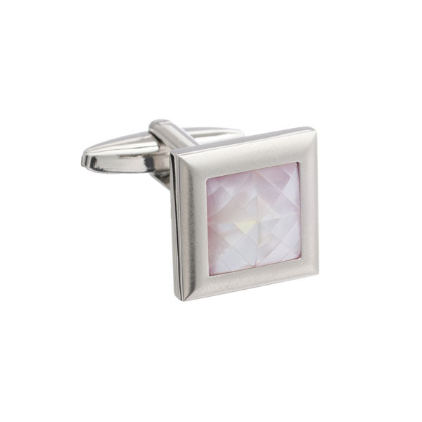 Square Brushed Metal Cufflinks with Spider's Web Pink Mother of Pearl Inlay by Elizabeth Parker
