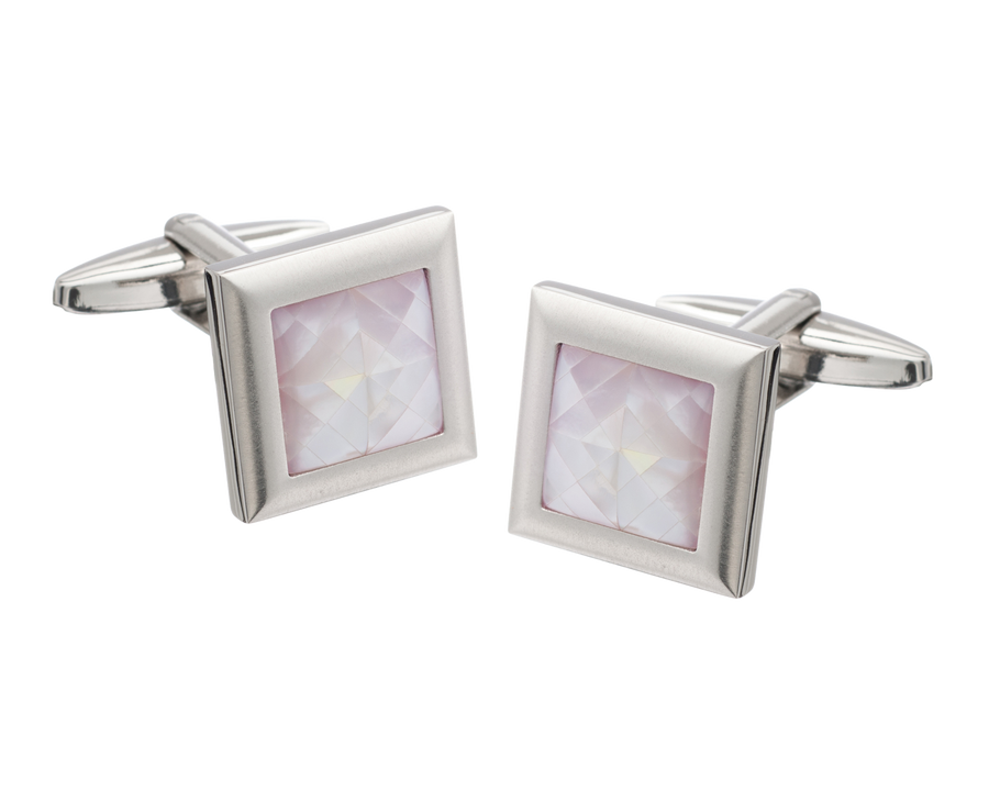 Square Spider's Web Pink Mother of Pearl Inlay Metal Cufflinks