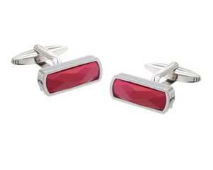 Narrow Rectangular Faceted Red Cufflinks