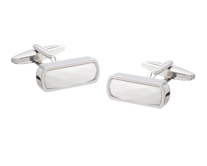 Narrow Rectangular Faceted White Cufflinks