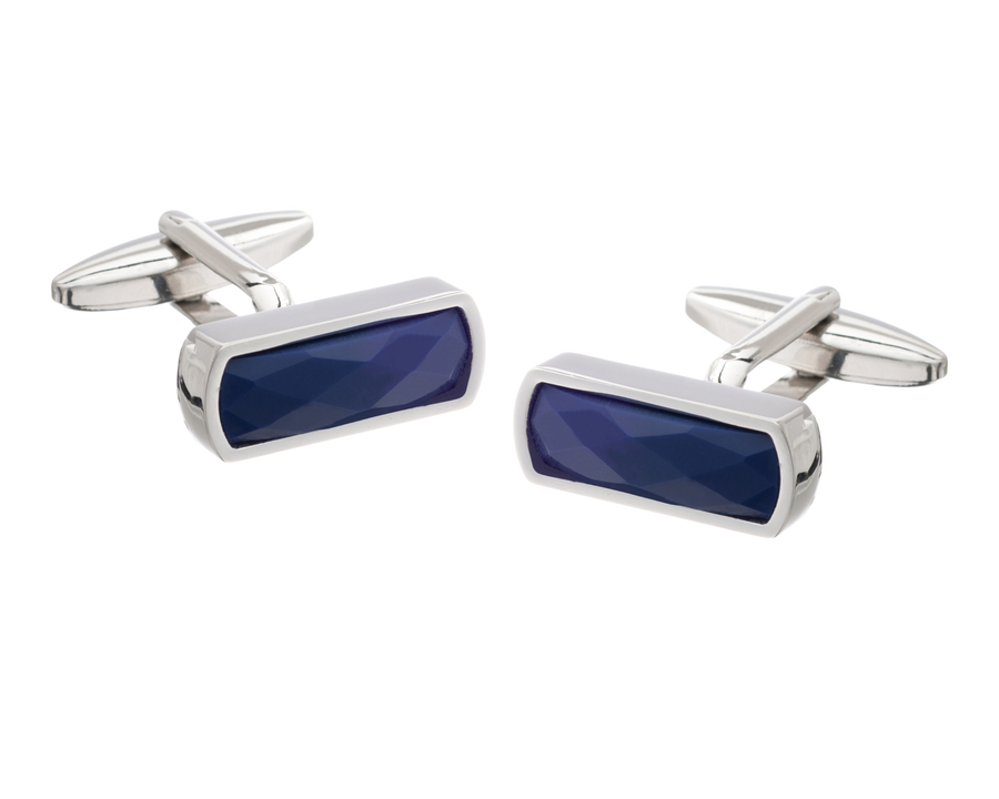Narrow Rectangular Navy Blue Faceted Cufflinks