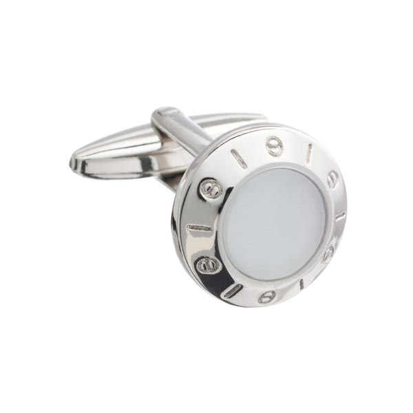 Round White Centred Cufflinks by Elizabeth Parker