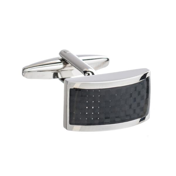 Rectangular Cufflinks with a Curved Front & Black Carbon Fibre Strip Detailing by Elizabeth Parker