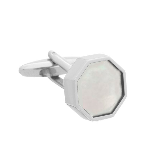 Octagonal Polished Cufflinks with White Mother of Pearl Sunken Inlay by Elizabeth Parker