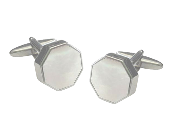 Octagonal Sunken Mother of Pearl Cufflinks