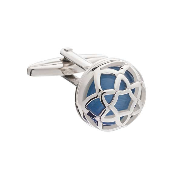 Exotic Encased Round Sky Blue Cufflinks by Elizabeth Parker England