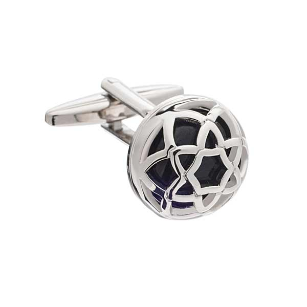 Exotic Encased Round Grey Cufflinks by Elizabeth Parker England