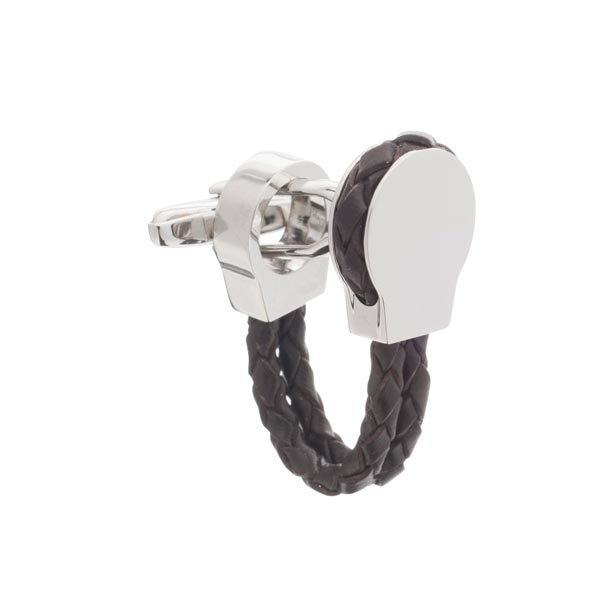 Braided Brown Leather Loop Cufflinks by Elizabeth Parker
