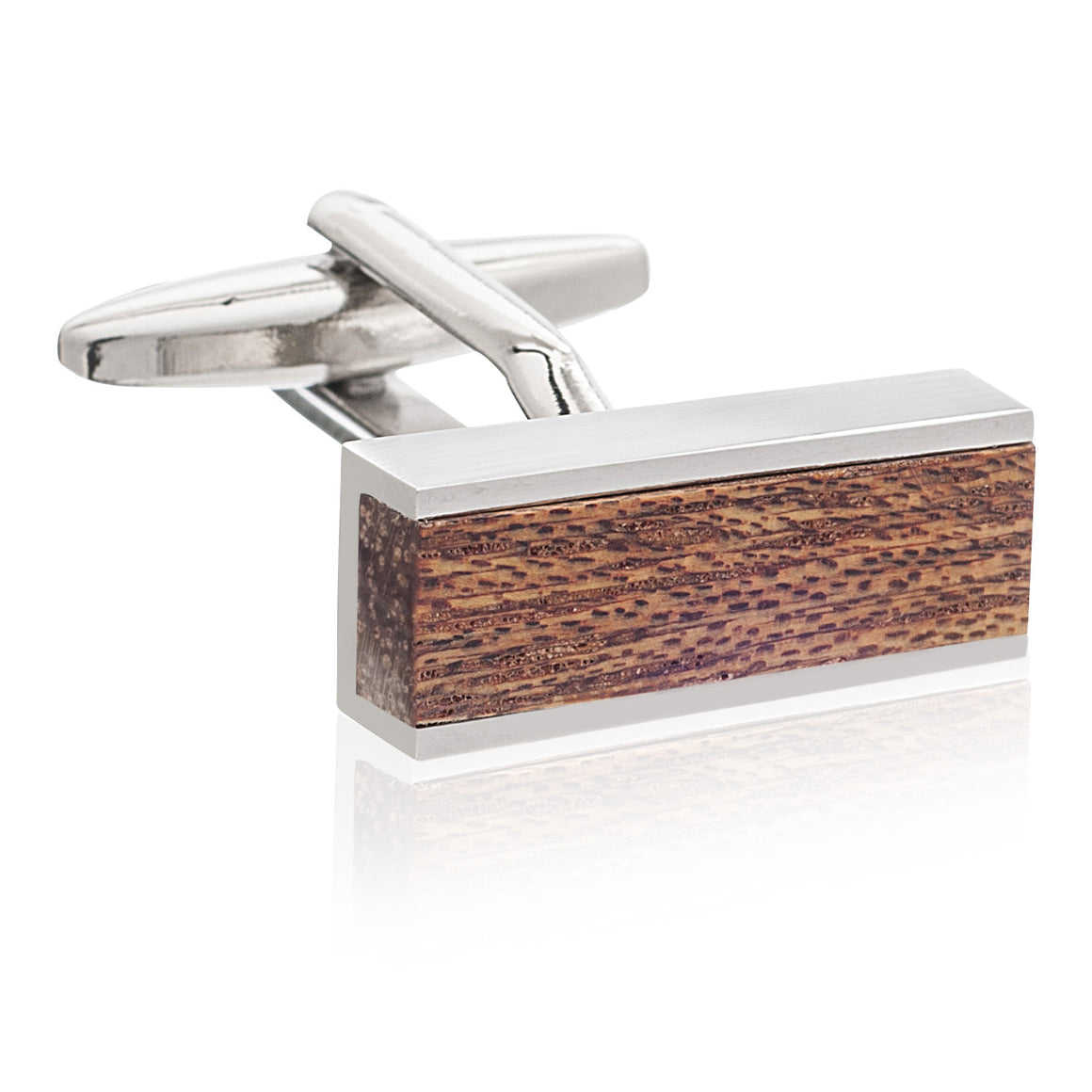 Wooden Bar Plain Metal Cufflinks