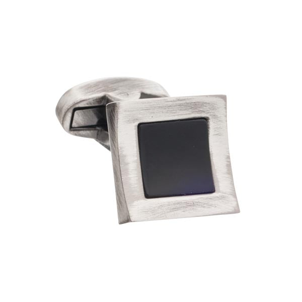 Vintage Style Concave Square With Onyx inset Cufflinks by Elizabeth Parker