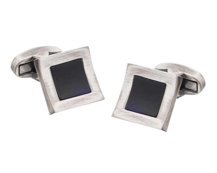 Vintage Style Concave Onyx Square Cufflinks