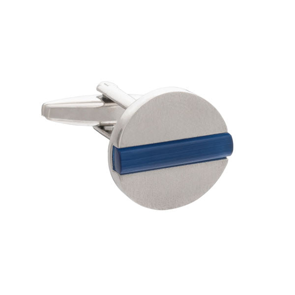 Blue Band Of Colour Round Cufflinks By Elizabeth Parker
