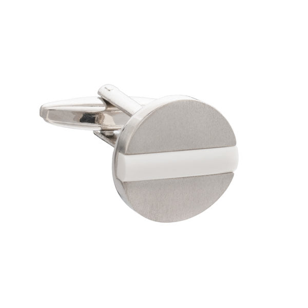 White Band Of Colour Round Cufflinks by Elizabeth Parker