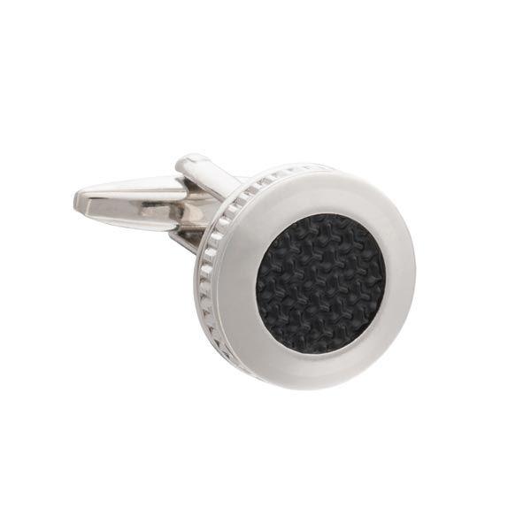 Construction Themed Round Cufflinks with textured matt Black insert by Elizabeth Parker