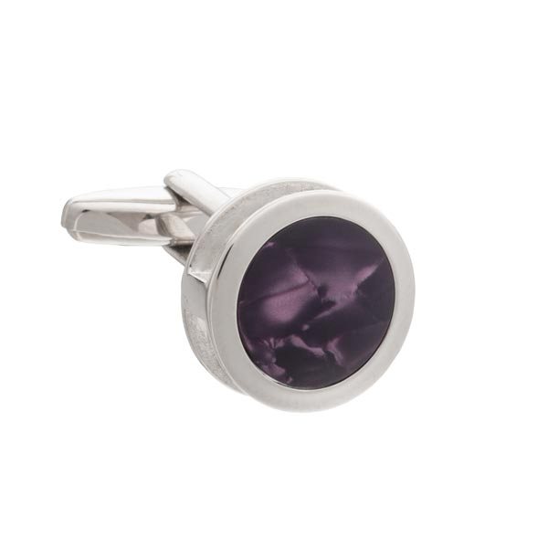 Purple Inside Out Round Cufflinks by Elizabeth Parker