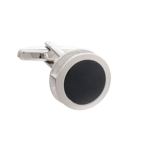 Black Inside Out Round Cufflinks by Elizabeth Parker