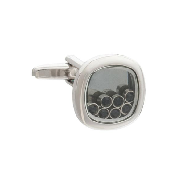 Lucky Seven Black Crystal Cufflinks by Elizabeth Parker