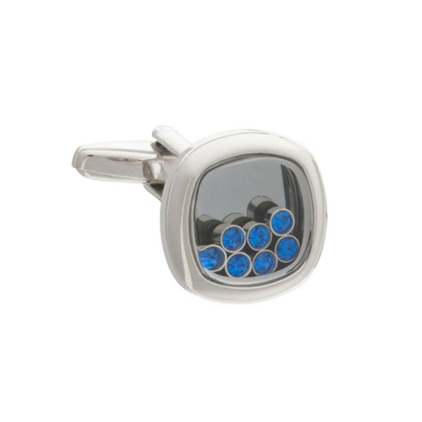 Lucky Seven Blue Crystal Cufflinks by Elizabeth Parker