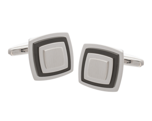 Multi-layered with Gunmetal Plate Square Cufflinks