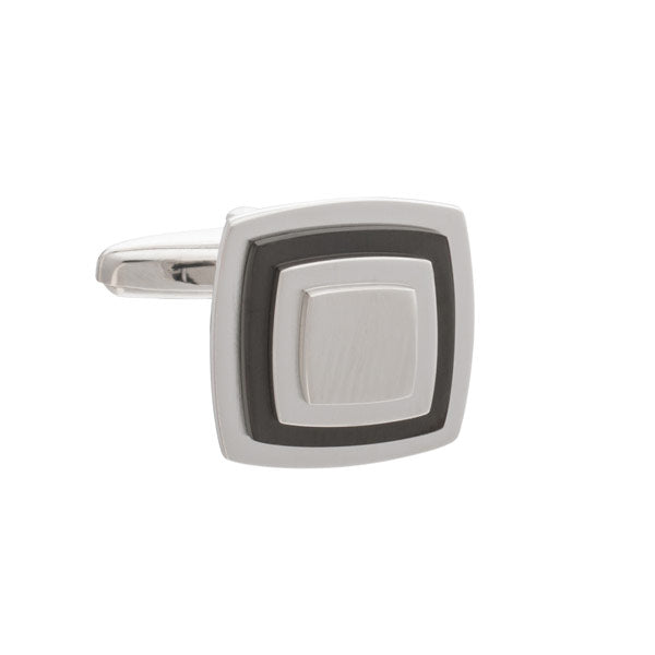 Multi-layered Square Cufflinks with Gun Metal Plate by Elizabeth Parker
