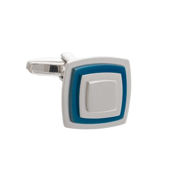 Multi-layered Square Cufflinks with Blue Plate by Elizabeth Parker