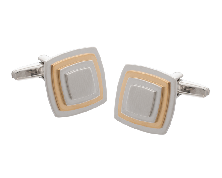 Multi-layered Gold Plate Square Cufflinks